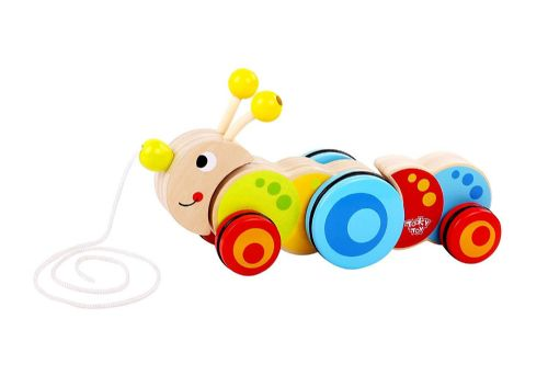 Toddlers Kids Children Wooden Pull Along Caterpillar toy